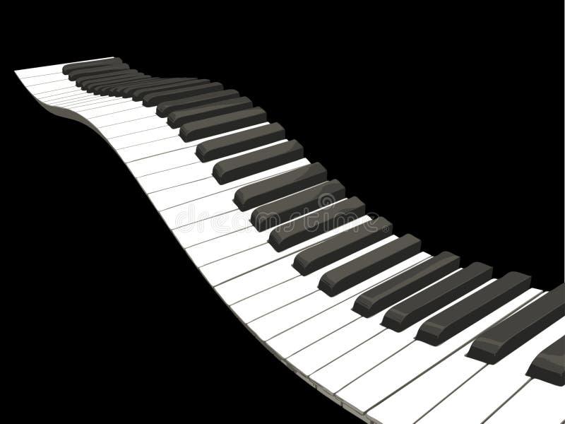 Wavy piano keys. Background of wavy piano keys royalty free illustration