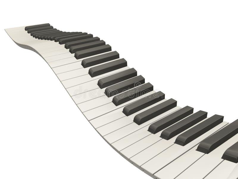 Wavy piano keys. 3D render of wavy piano keys on white background stock illustration