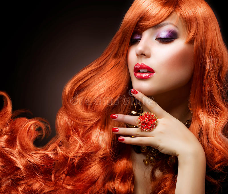 Wavy Red Hair royalty free stock images