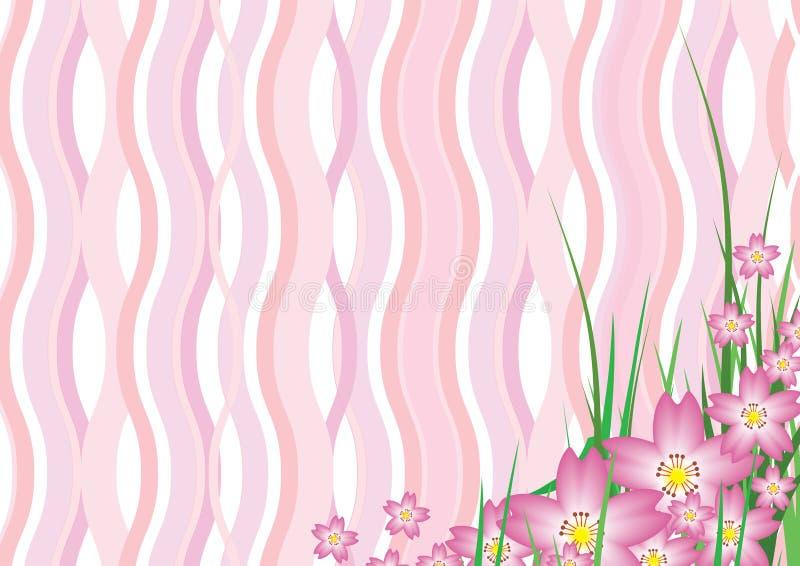 Wavy Sakura Blossom. Illustration of Pink Wavy Sakura Cherry Blossom Background royalty free illustration