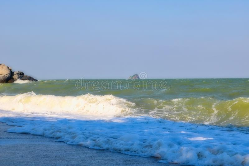 Wavy sea at the beach of Thailand stock photos