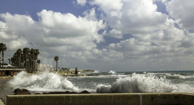 Wavy sea in port stock image