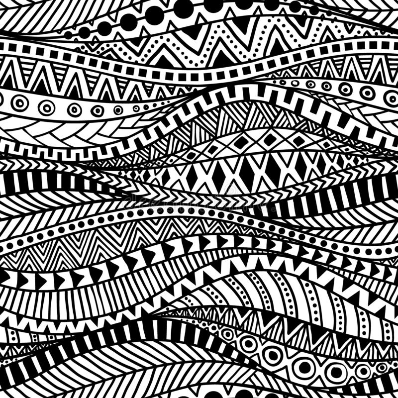 Wavy seamless ethnic pattern. Black and white print for textiles. Hand-drawn in the style of doodle. Aztec and tribal motifs vector illustration