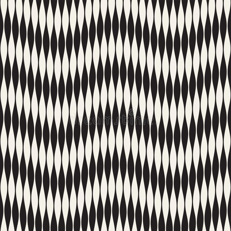 Wavy stripes vector seamless pattern. Retro wavy engraving texture. Geometric zigzag lines design.n royalty free illustration