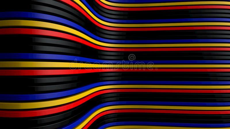 Wavy surface made of different colored lines. 3d illustration of a wavy surface made of different colored lines royalty free stock photo