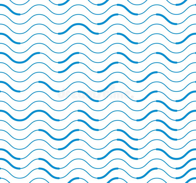 Free Wavy Technical Lines Seamless Pattern, Vector Abstract Repeat Endless Background. Stock Image - 137605321