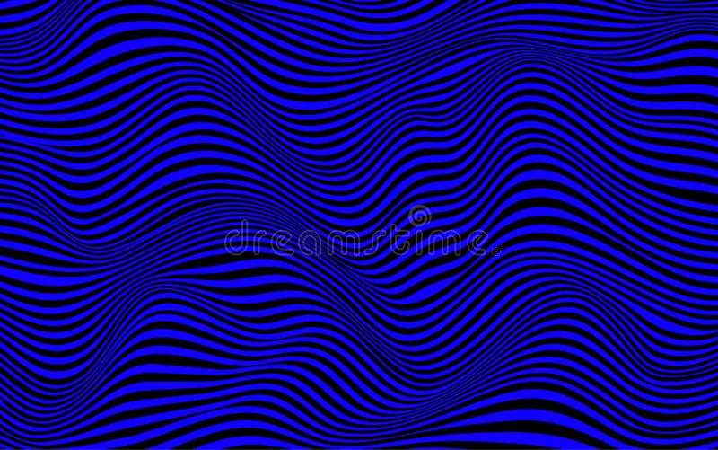 Wavy twisted rippled lines texture background in blue. Abstract wavy twisted rippled lines texture background in blue stock illustration