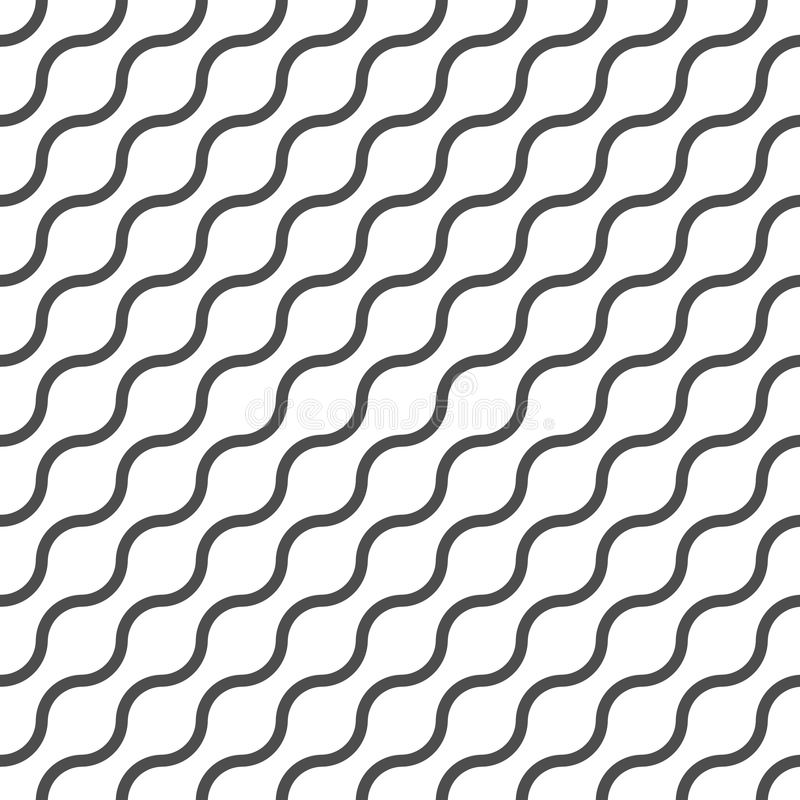 Wavy vector seamless pattern, geometric abstract background of black and white color. Modern simple wave line ornament royalty free illustration