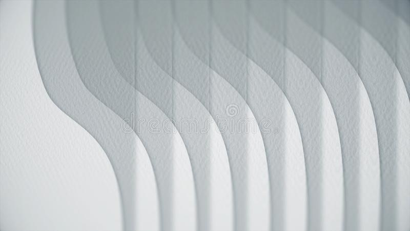 Wavy white lines on paper. Abstract animation of paper texture with lines. Curves turn into straight lines.  vector illustration