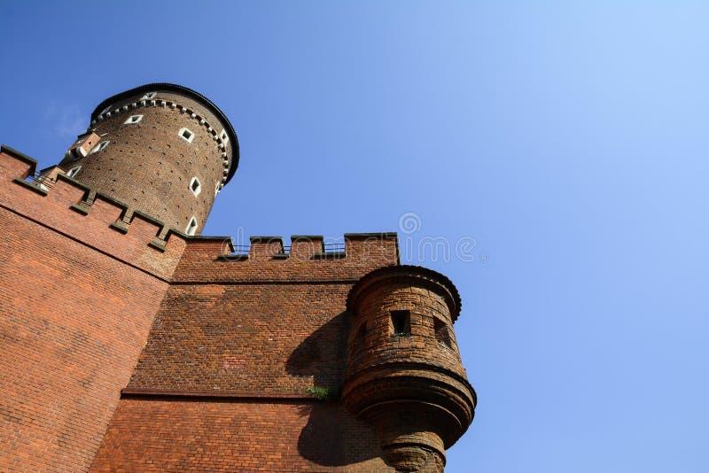 Wawel古老墙壁在克拉科夫,波兰防御 库存图片