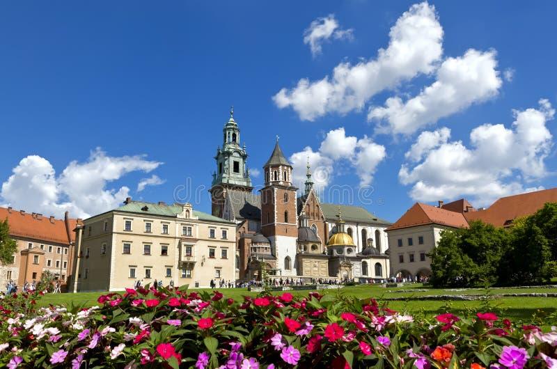 Wawel大教堂的看法和Wawel在Wawel小山,克拉科夫,波兰防御 库存照片