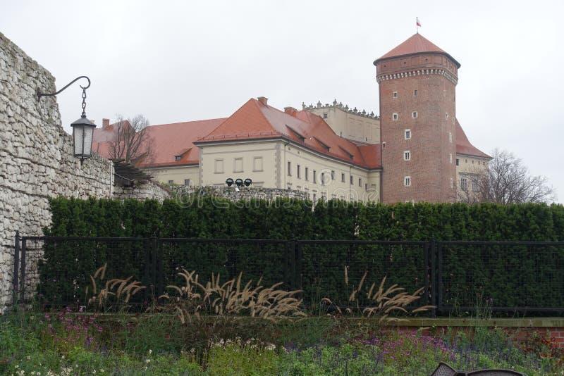 Wawel的墙壁参议员Tower和在克拉科夫防御 库存图片