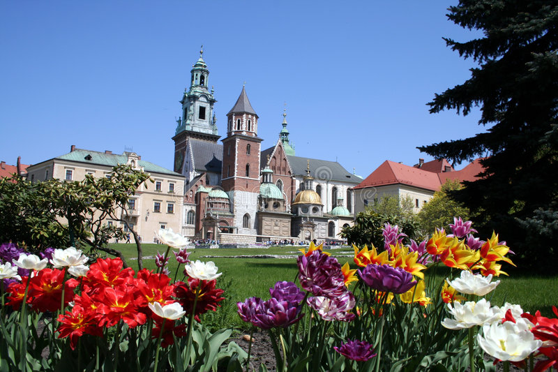 Wawel castle and garden stock photography