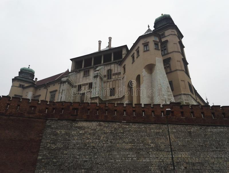 Wawel Castle and grounds in Krakow, Poland. Symbol of the independent Polish state, cloudy day stock photos