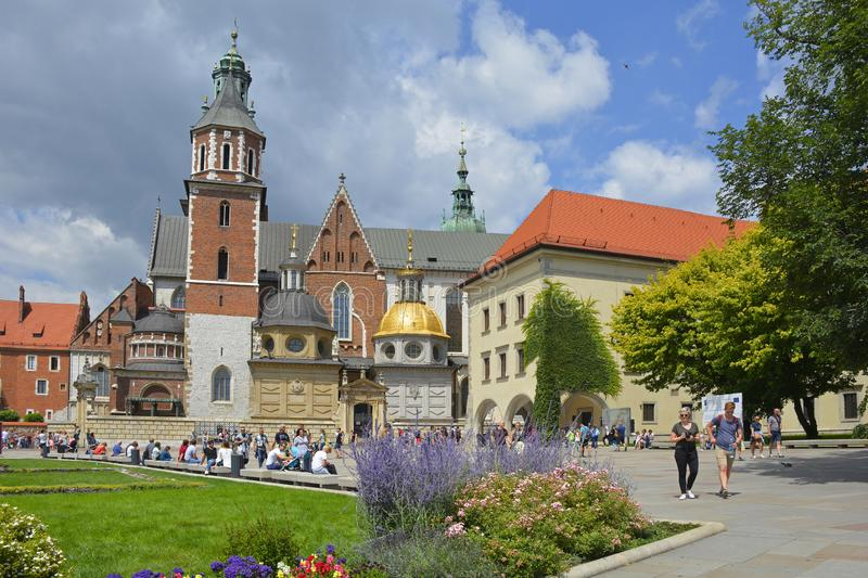 Wawel Castle. Krakow, Poland - July 13th 2018. Tourists walk around the ground of the historic Wawel Castle and Wawel Cathedral in Krakow, Poland stock photos