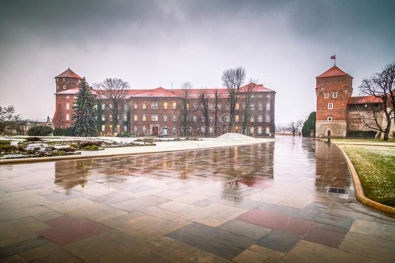 Wawel castle in Krakow during a snowy day at Christmas. stock images