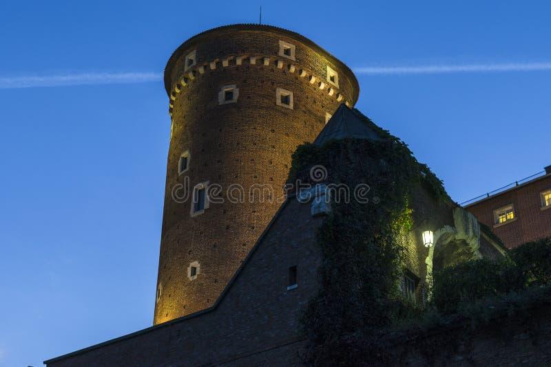 Wawel castle by night stock image