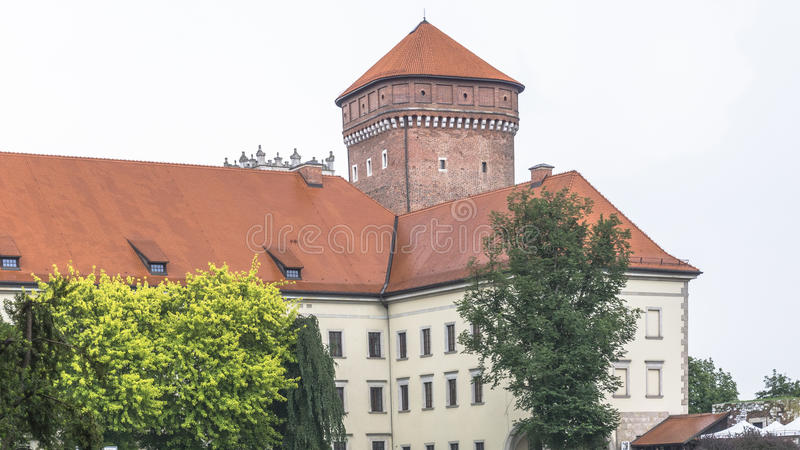 Wawel Castle in rainy day royalty free stock photography
