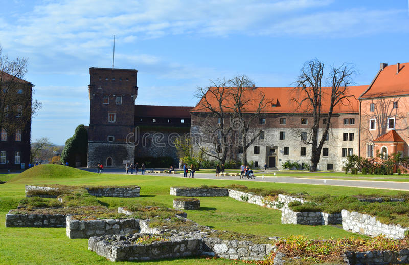 Wawel Castle square on sunny autumn day. In Krakow, Poland stock image