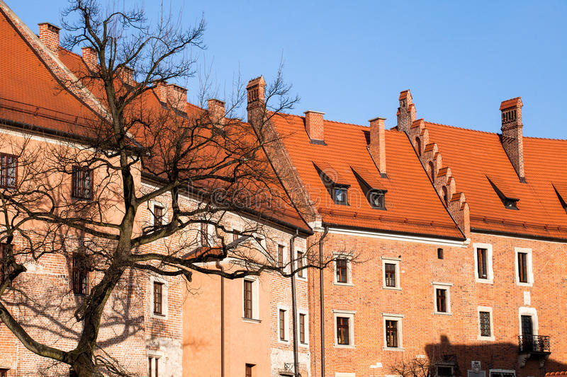 Wawel Castle square on sunny summer day in Krakow, Poland.  stock photos