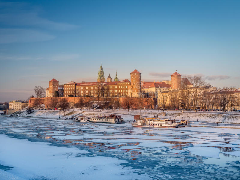 Wawel Castle in winter time royalty free stock photos