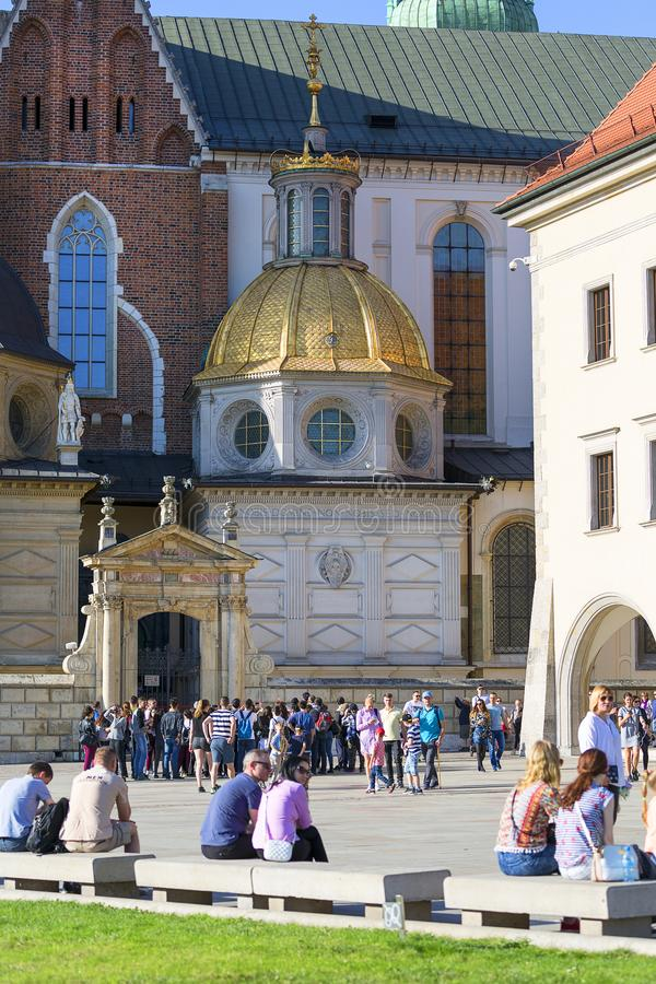 Wawel Cathedral - coronation place of Polish kings- on Wawel Hill, Krakow, Poland. KRAKOW, POLAND - APRIL 14, 2018: Wawel Cathedral - coronation place of Polish stock photo