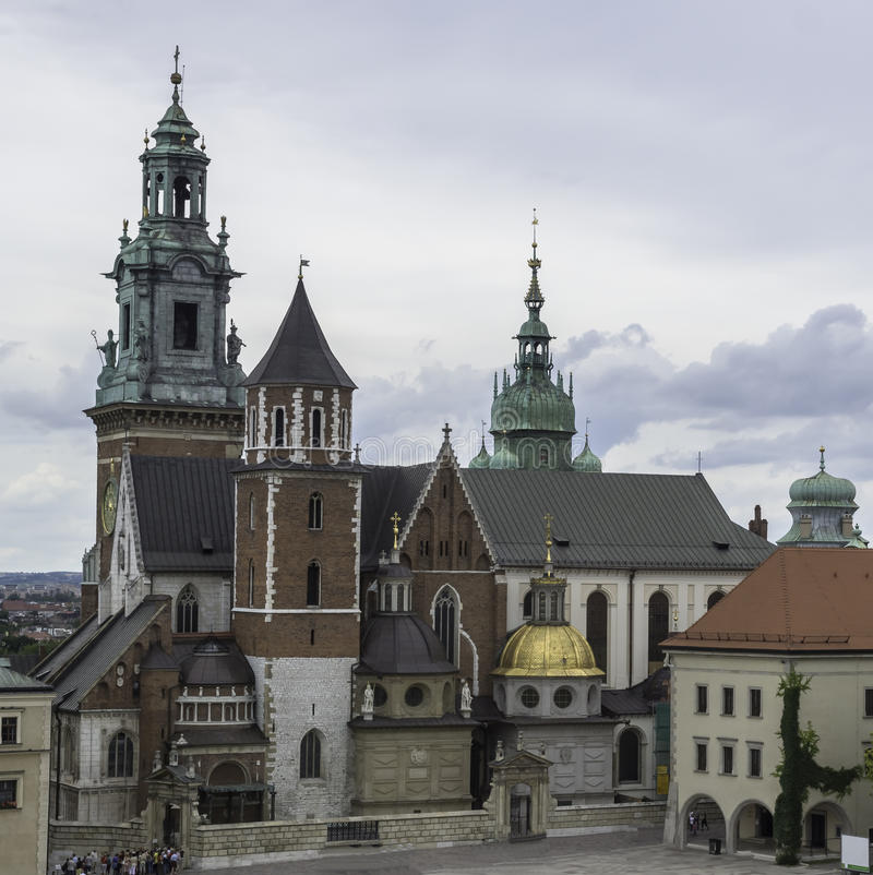 Wawel Cathedral. Is an excerpt from buildings of the Royal Castle in Krakow stock images