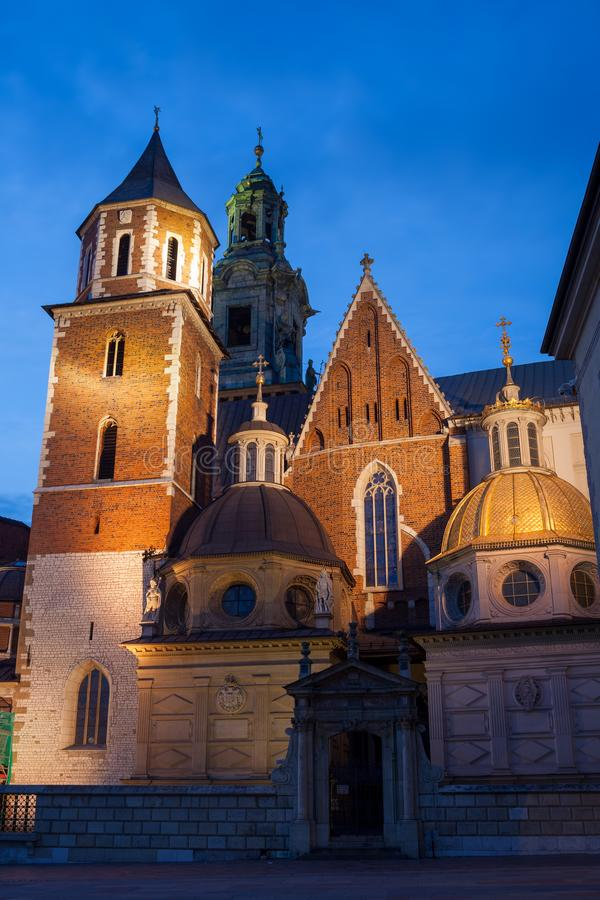 Wawel Cathedral Illuminated at Night in Krakow. Wawel Royal Cathedral illuminated at night in Krakow, Poland. Historic city landmark, Romanesque, Gothic, Baroque stock images