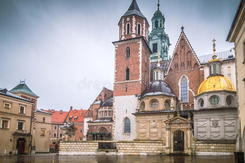 The Wawel Cathedral in Krakow, the historic Polish city. stock image