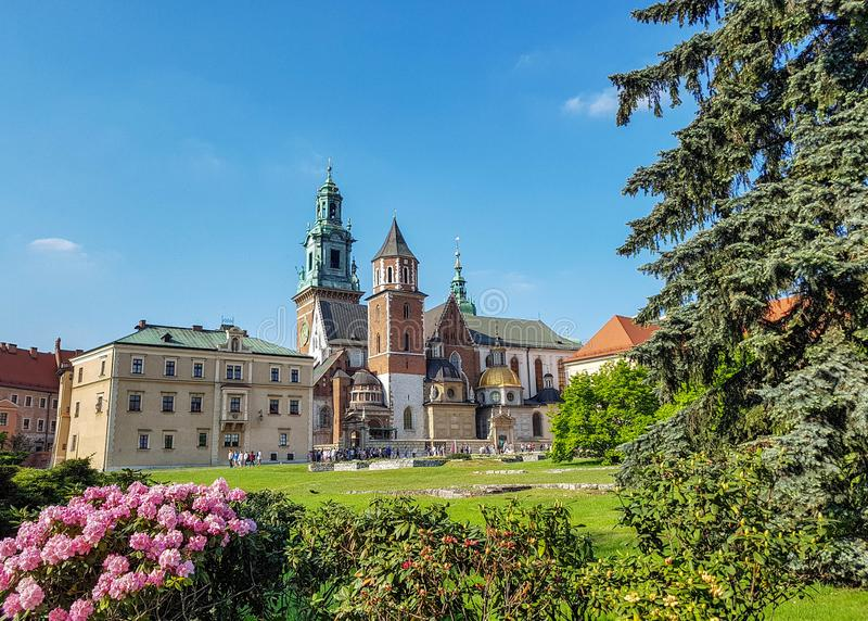 Wawel Cathedral: mixture of architecture styles in one church with pink flowers in a frontline and blue sunny sky in background. Krakow, Poland, Europe royalty free stock image