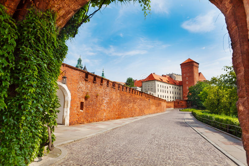 Wawel Royal Castle view from the gates royalty free stock image
