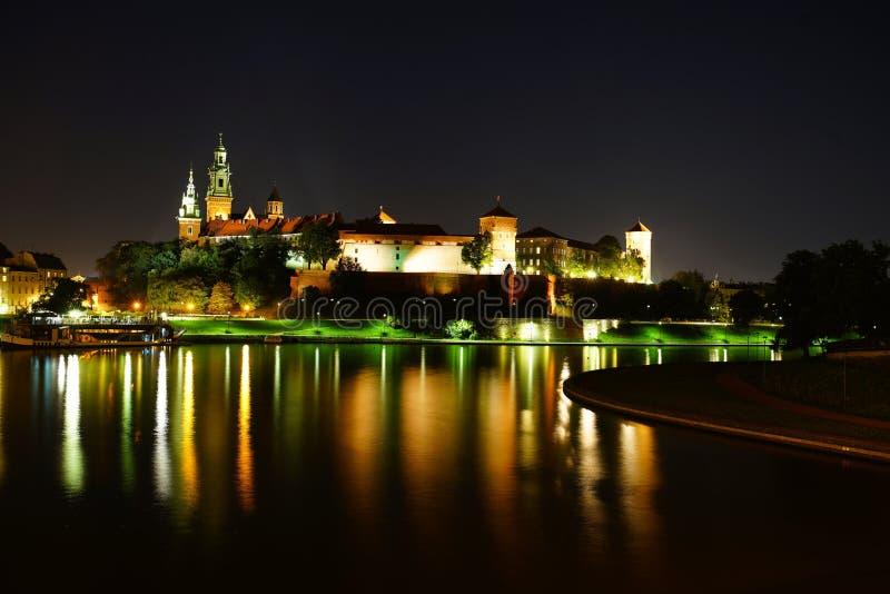 Wawel Royal Castle at night stock photos