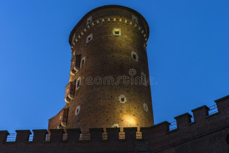 Wawel 's nachts kasteel stock foto's