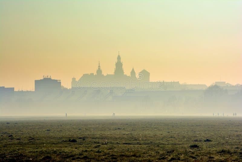 Wawel slott i morgondimman, Krakow royaltyfri foto