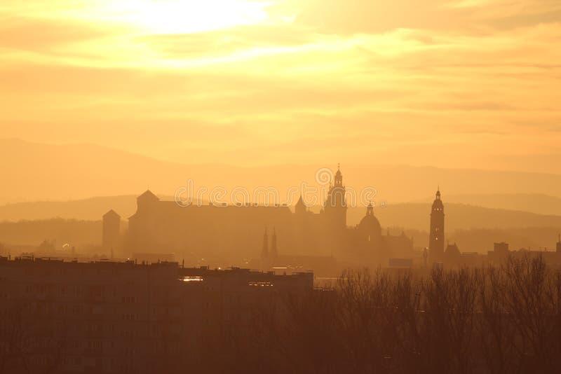 Wawel sunset royalty free stock photos