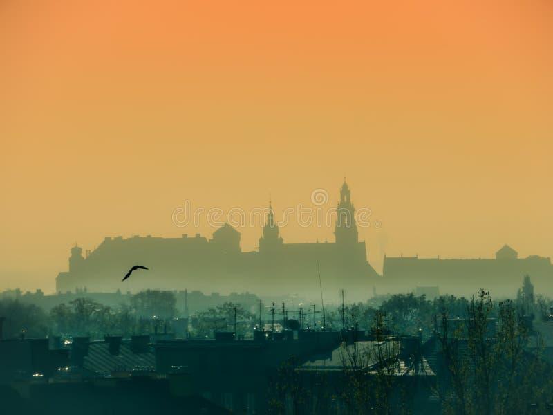 Wawelkasteel tijdens zonsopgang stock foto
