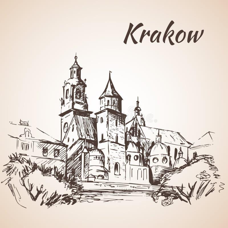 Wawelkathedraal - Krakau, Polen schets stock illustratie