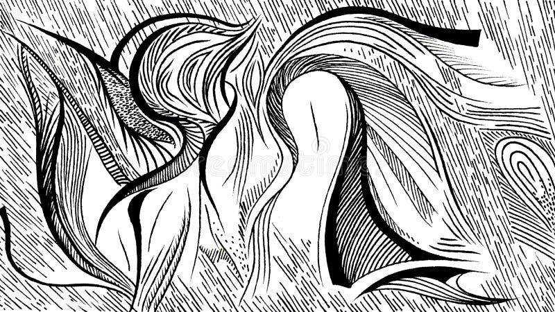 Wawes e plantas da abstração imagem de stock