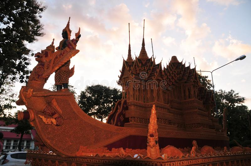 Wax Castle Festival is held annually at the end of the Buddhist Lent. The event are. Sakon nakhon ,Thailand – October 23,2018 : Wax Castle Festival is royalty free stock photography