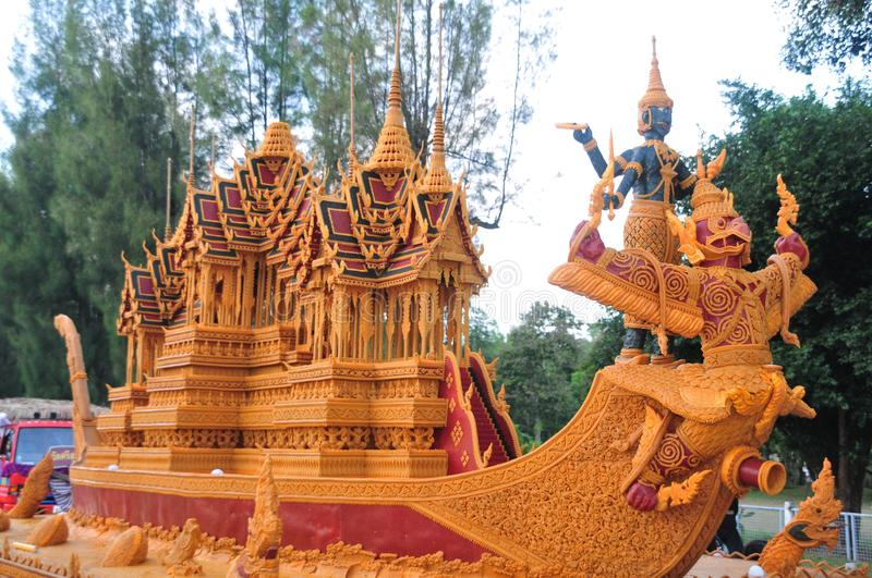 Wax Castle Festival is held annually at the end of the Buddhist Lent. The event are. Sakon nakhon ,Thailand – October 23,2018 : Wax Castle Festival is stock photos