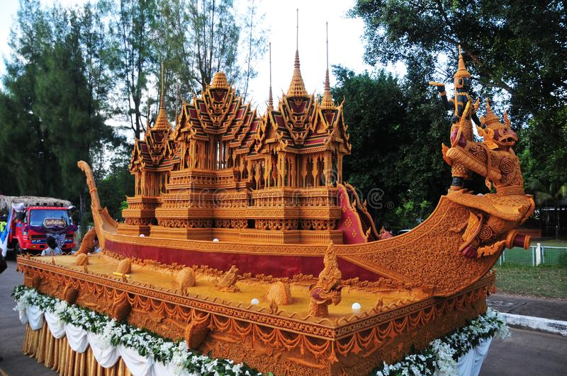 Wax Castle Festival is held annually at the end of the Buddhist Lent. The event are. Sakon nakhon ,Thailand – October 23,2018 : Wax Castle Festival is stock photography