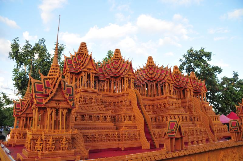 Wax Castle Festival is held annually at the end of the Buddhist Lent. The event are. Sakon nakhon ,Thailand – October 23,2018 : Wax Castle Festival is royalty free stock images