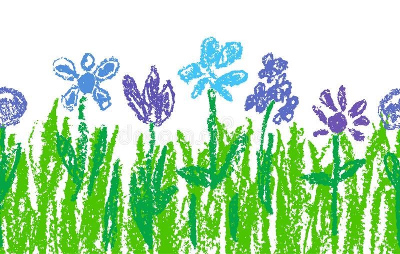 Wax crayon blue flowers with green grass like kid`s art hand drawn. vector illustration