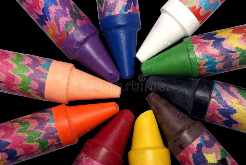 Wax crayon circle stock photos