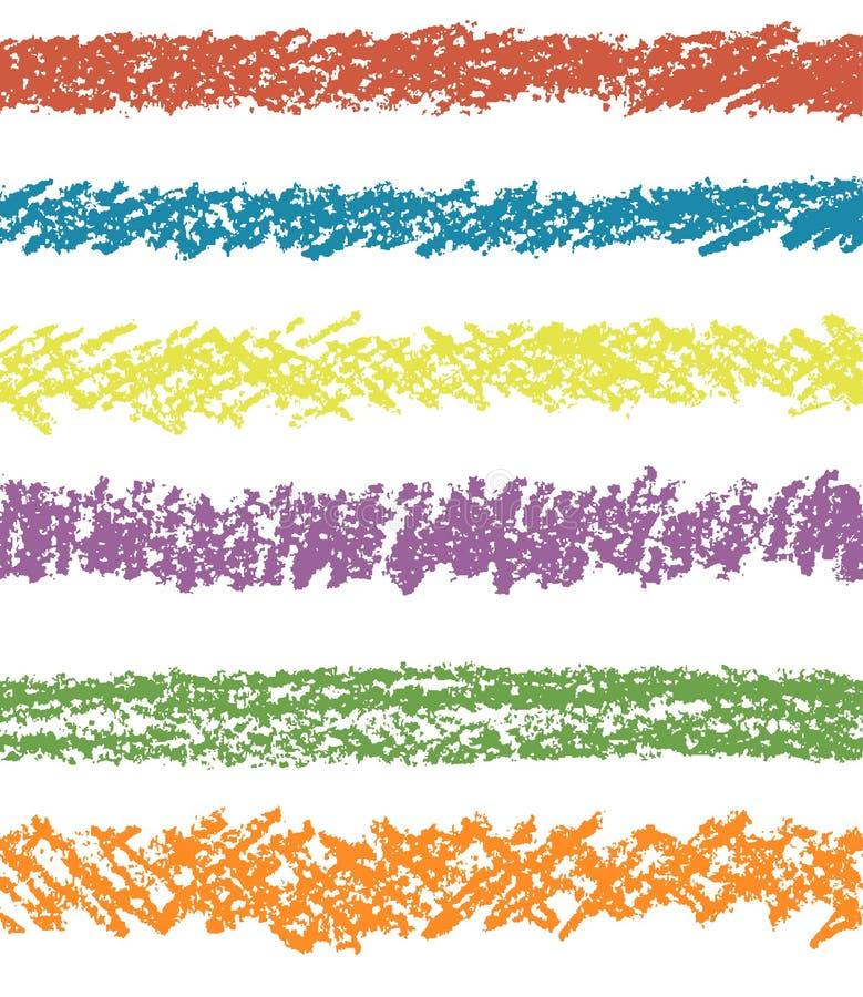 Set of colorful pastel chalk seamless art strokes. royalty free illustration