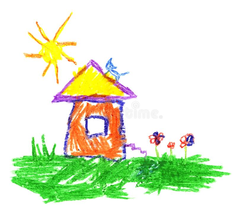 Wax crayon like child`s hand drawing house, cat, sun and grass. vector illustration