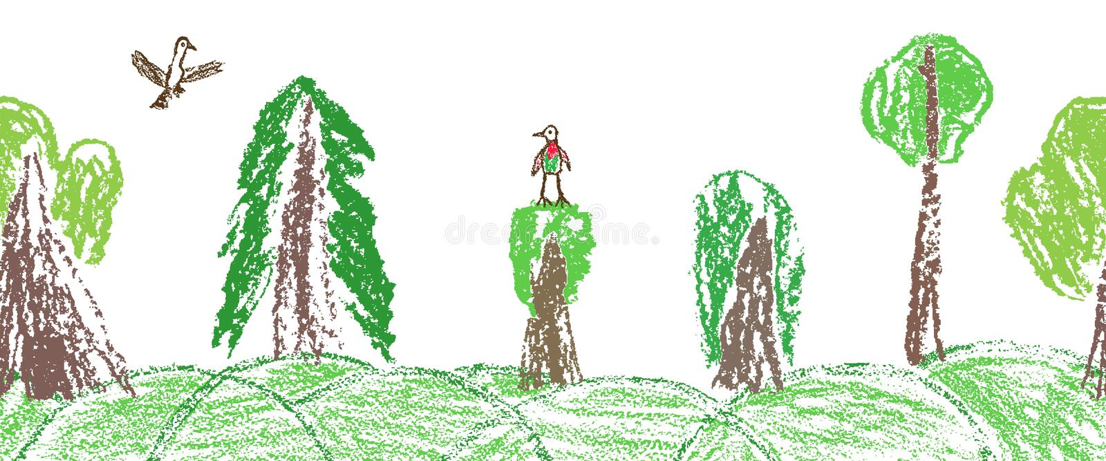 Wax crayon like child`s hand drawn forest or tree set and flaying bird isolated on white. royalty free illustration