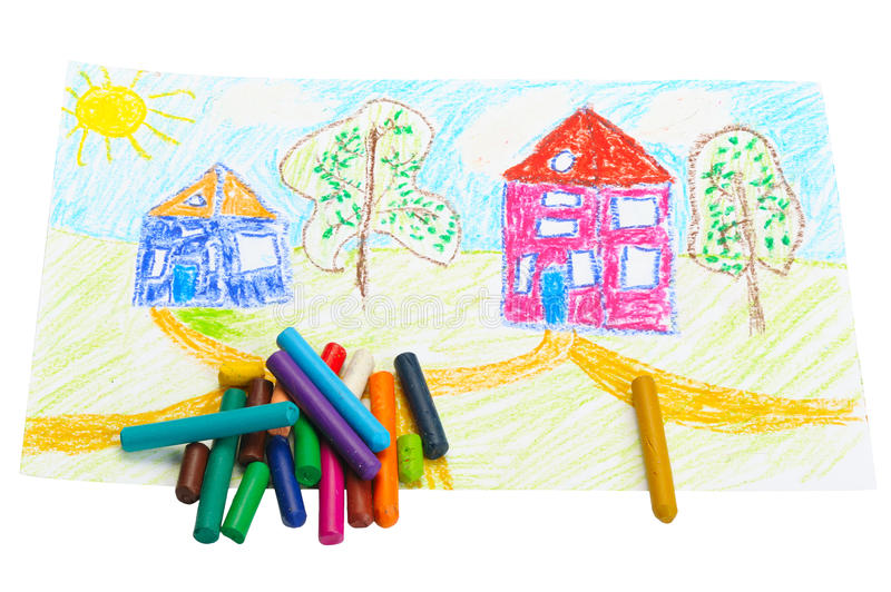 Wax Crayons And A Children S Drawing. Stock Photos