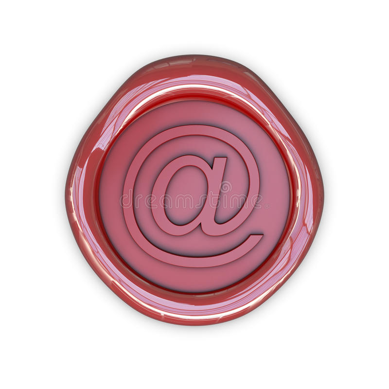 Wax email sign. Isolated on white background stock illustration