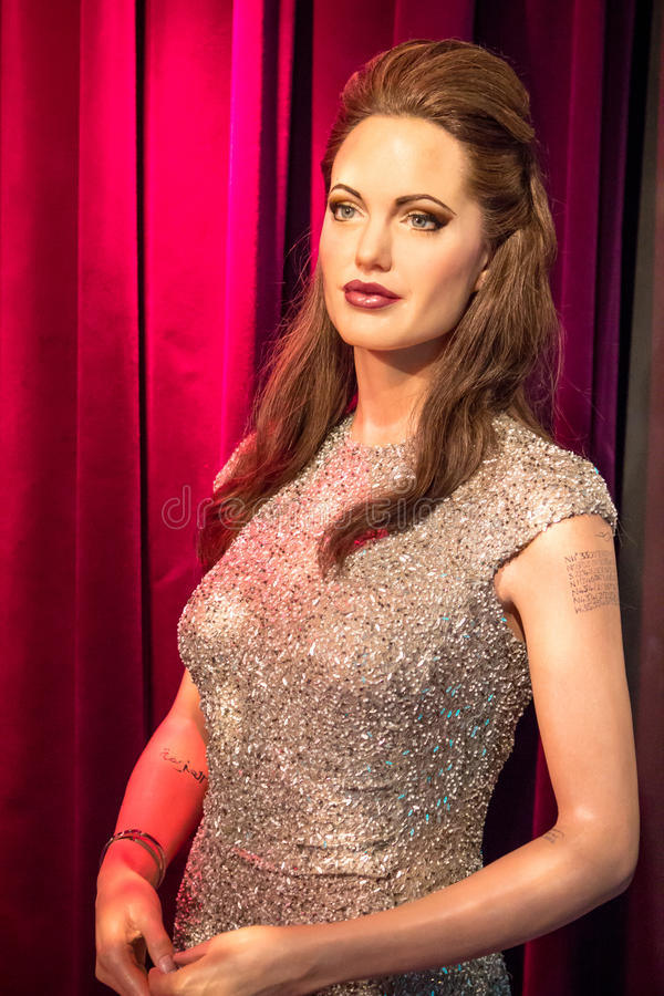 Wax figur of Angelina Jolie. In Madame Tussauds museum in Amsterdam stock photography